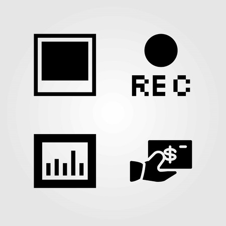 Buttons vector icons set. dollar, photo and rec