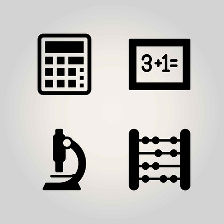 School vector icon set. microscope, blackboard and calculator