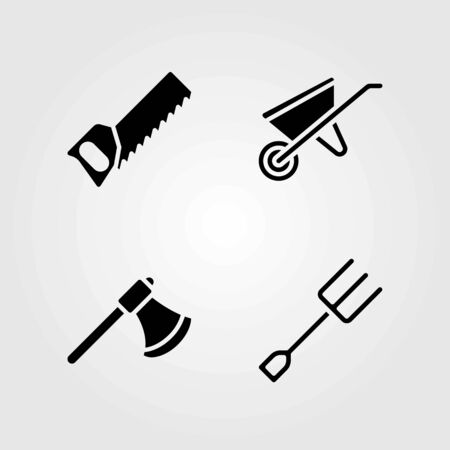 Garden vector icons set. handsaw, axe and fork