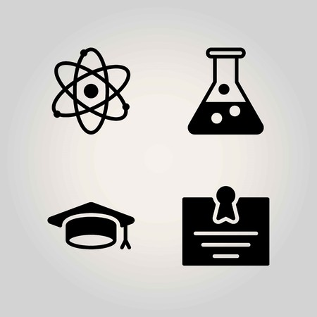 Science vector icon set. certificate, atom and flask Illustration
