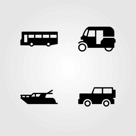 Transport vector icons set. jeep, bus and tuk tuk Vettoriali
