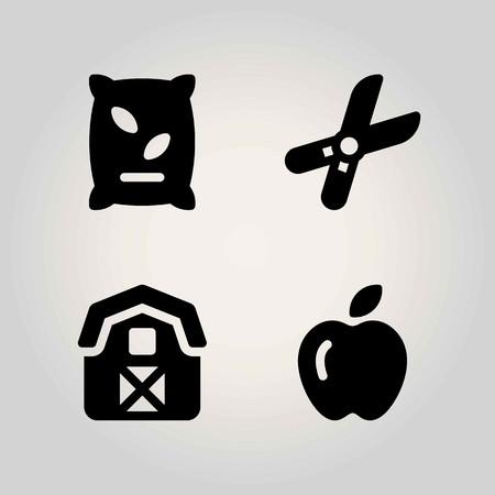 Boerderij vector icon set. schuur, kunstmest, appel en snoeischaar Stock Illustratie