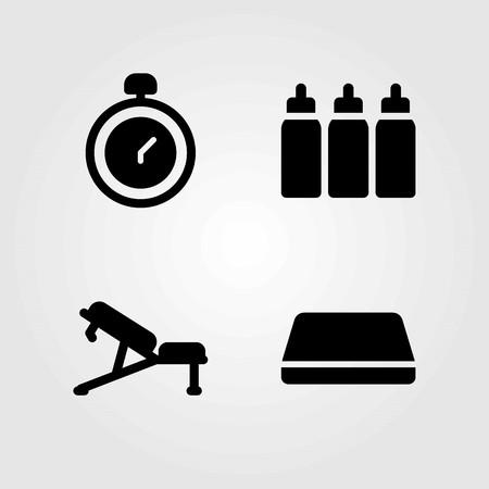 Fitness vector icons set. chronometer, gym mat and mat Çizim