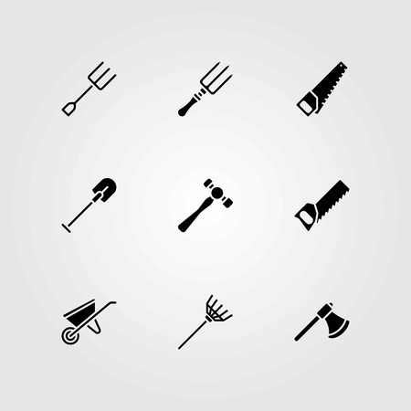 Garden vector icons set. handsaw, shovel and hammer