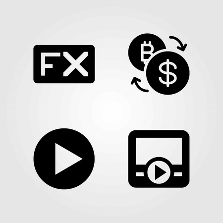 Buttons vector icons set. movie player, exchange and fx