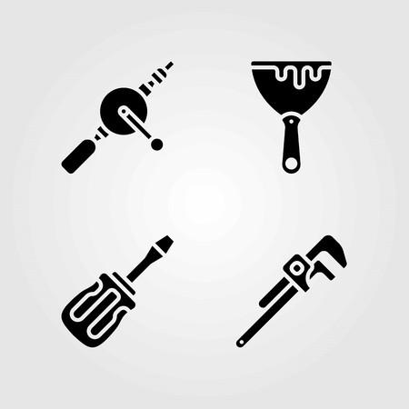 Tools vector icons set. scraper, hand drill and screwdriver Illustration