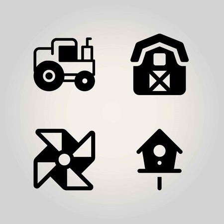 Farm vector icon set. birdhouse, pinwheel, barn and tractor Illustration
