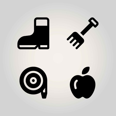 Farm vector icon set. rake, boot, apple and hose