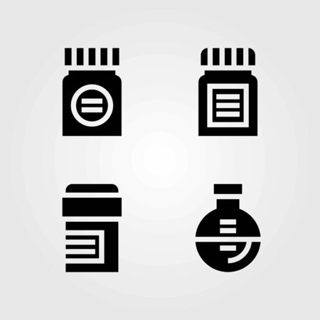 Medical vector icons set. pills, medicine and flask 向量圖像