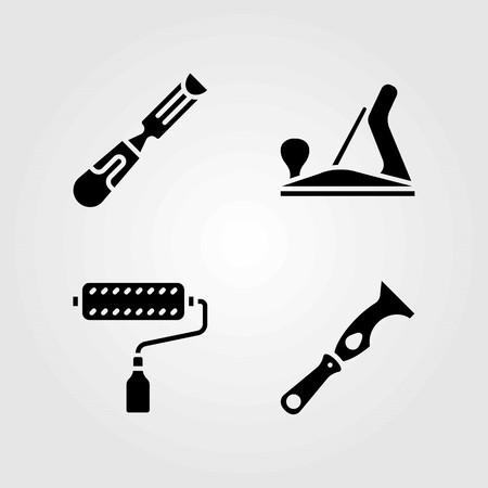 Tools vector icons set. wood plane, scraper and paint roller