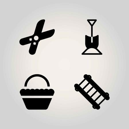 Boerderij vector icon set. ladder, mand, schop en snoeischaar Stock Illustratie