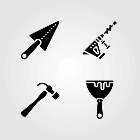 Tools vector icons set. hammer, hammer drill and scraper