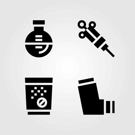 Medische vector iconen set. inhalator, spuit en kolf Stock Illustratie