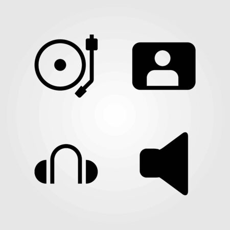 Multimedia vector icons set. mute, headphones and speaker
