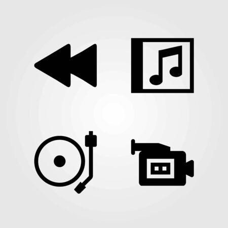 Multimedia vector icons set. video camera, rewind and compact disk Çizim