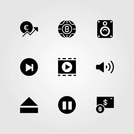 Buttons vector icons set. eject, volume and euro