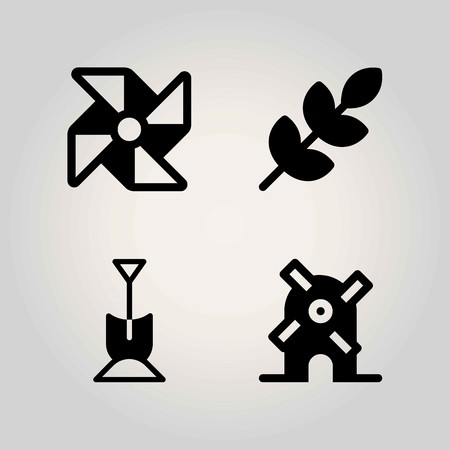 Agriculture vector icon set. pinwheel, shovel, wheat and windmill