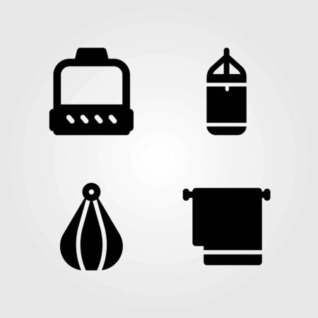 Fitness vector icons set. towel, punching ball and punching bar