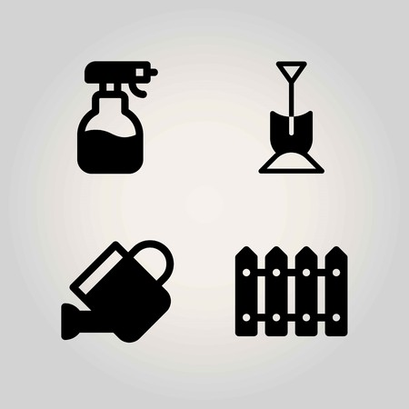 Agriculture vector icon set. watering can, fence, sprayer and shovel