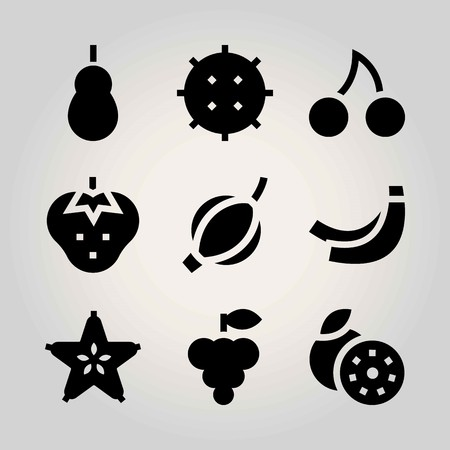Fruits vector icon set. groseberry, carambola, grapefruit and grape