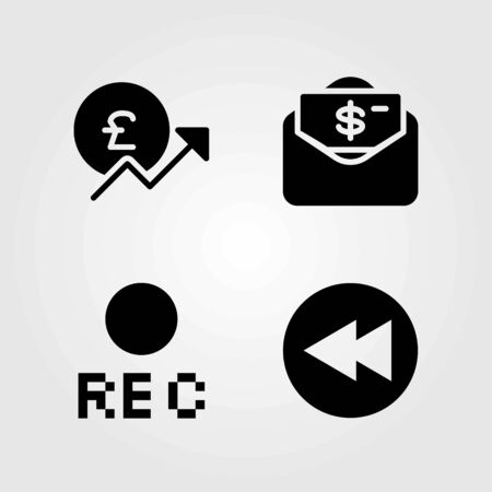 Buttons vector icons set. pound sterling, dollar and rec Illustration