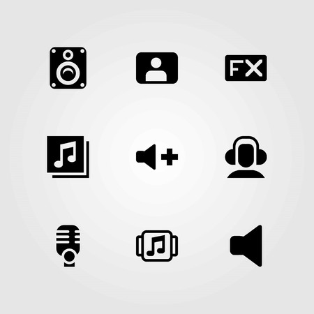 Multimedia vector icons set. headphones, quaver and user