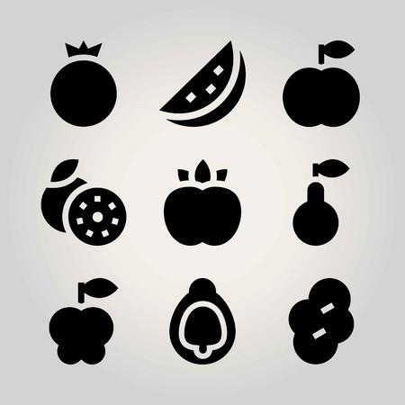 Fruits vector icon set. pomegranate, peach, grapefruit and prune Ilustração