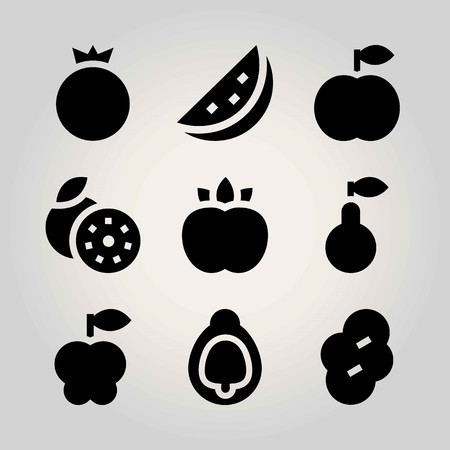 Fruits vector icon set. pomegranate, peach, grapefruit and prune Illustration
