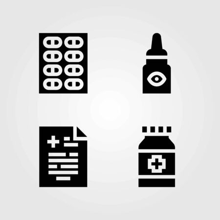 Medical vector icons set. eye drops, pills and medical result 向量圖像