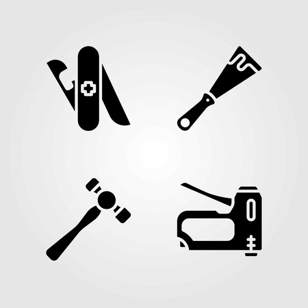 Tools vector icons set. multitool, hammer and scraper