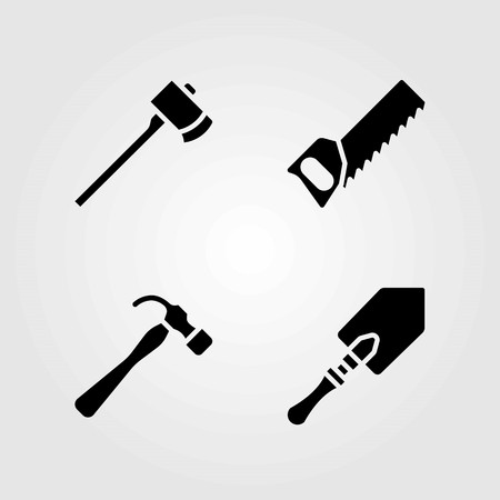 Garden vector icons set. handsaw, axe and shovel
