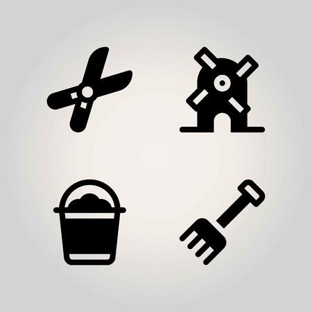 Boerderij vector icon set. emmer, hark, snoeischaar en windmolen Stock Illustratie