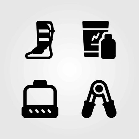 Fitness vector icons set. pulley, shakes and shinpad