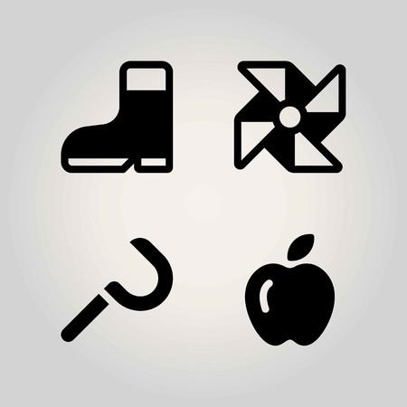 Farm vector icon set. pinwheel, apple, sickle and boot Vectores
