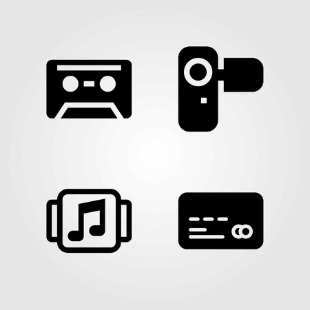Technology vector icons set. credit card, music player and cassette Ilustração
