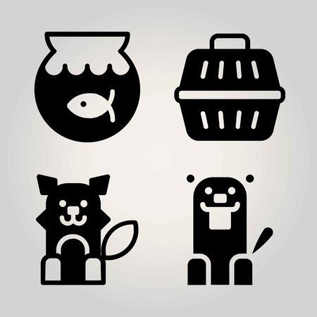 Animals vector icon set. wolf, animal carrier, beaver and goldfish