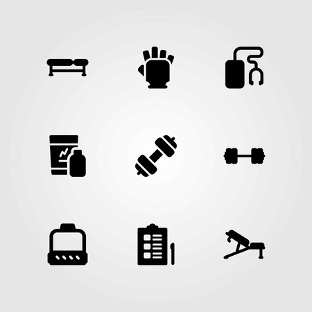 Fitness vector icons set. bench, shakes and music player Illustration