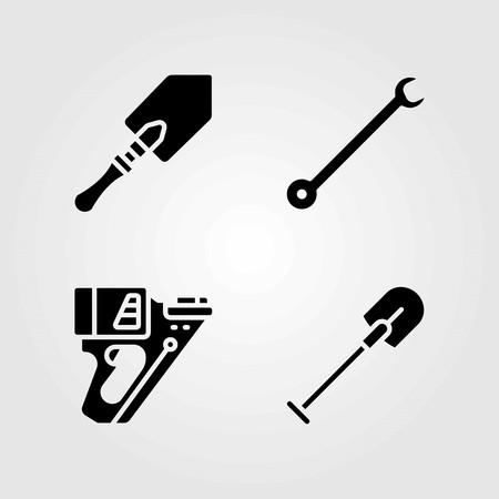 Tools vector icons set. nail gun, shovel and spanner