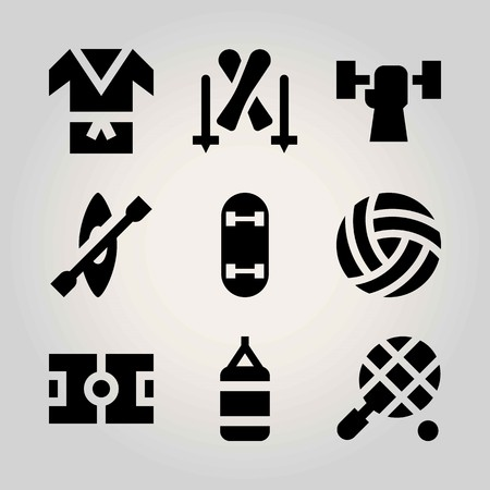 Sport vector icon set. skateboard, football, field and weightlifting