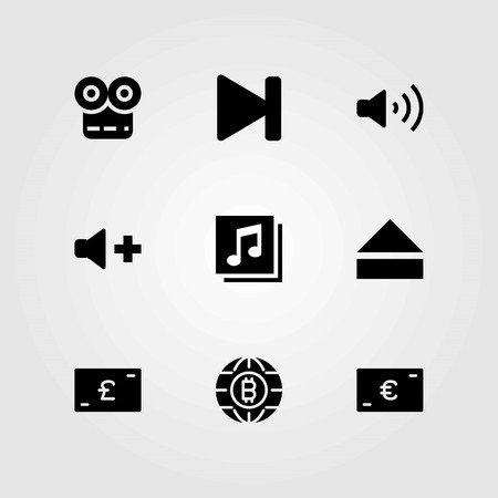 Buttons vector icons set. euro, next and quaver