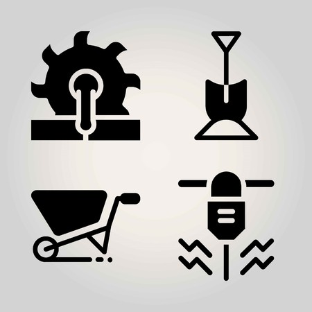 Garden vector icon set. wheelbarrow, driller, shovel and saw