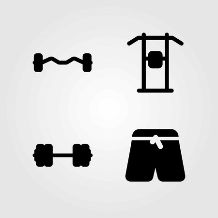 Fitness vector icons set. sports pants, pull up and biceps dumbbell