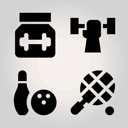 Sport vector icon set. bowling, tennis, protein and weightlifting