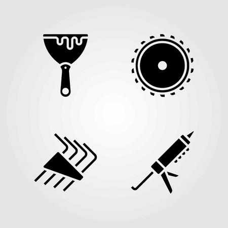 Tools vector icons set. saw blade, scraper and allen keys