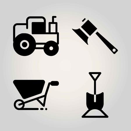 Agriculture vector icon set. tractor, axe, wheelbarrow and shovel