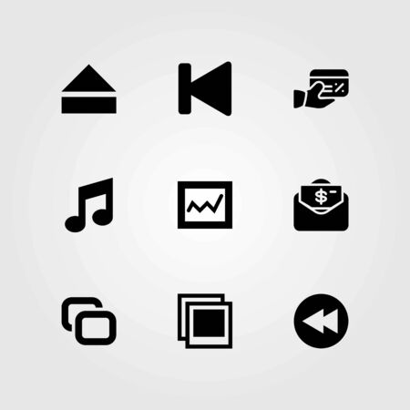 Buttons vector icons set. analytics, eject and money.