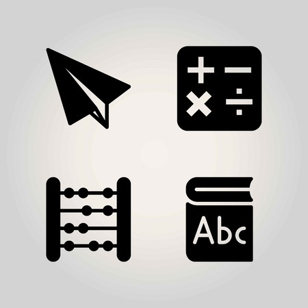 School vector icon set, book, paper plane and abacus. Illustration