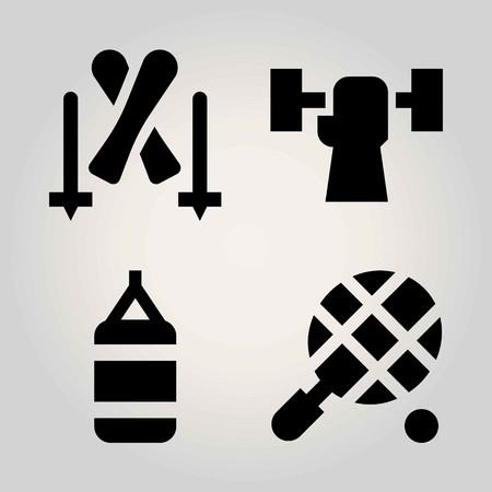 Sport vector icon set. punching bag, weightlifting, skiing and tennis Ilustrace