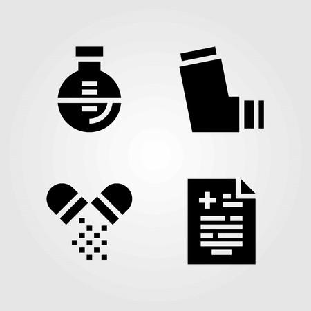 Medische vector iconen set. medisch resultaat, inhalator en pillen Stock Illustratie