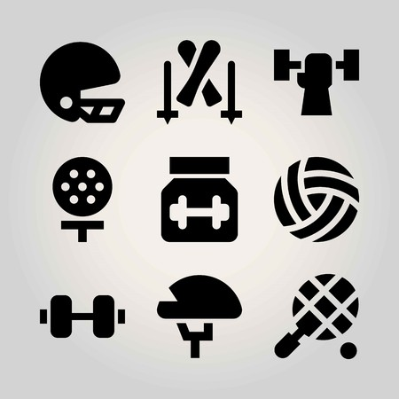 Sport vector icon set. ball, dumbbell, weightlifting and tennis